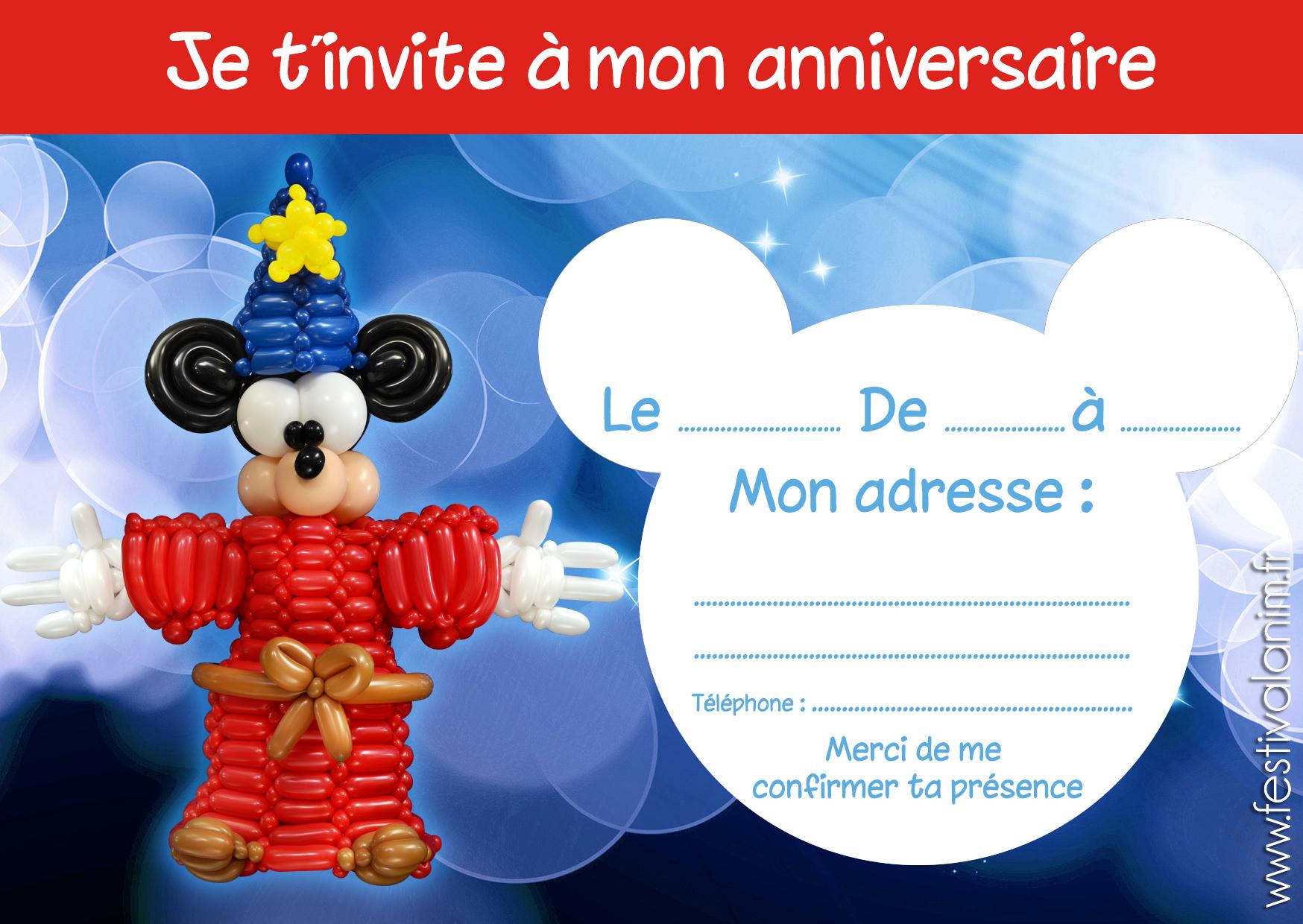 carte invitation pour la fête des enfants